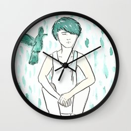 Green hair and hummingbird contemplating about life Wall Clock