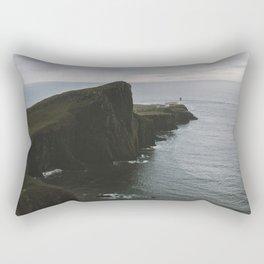 Neist Point Lighthouse at the Atlantic Ocean - Landscape Photography Rectangular Pillow