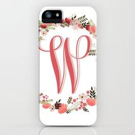 Personal monogram letter 'W' flower wreath iPhone Case
