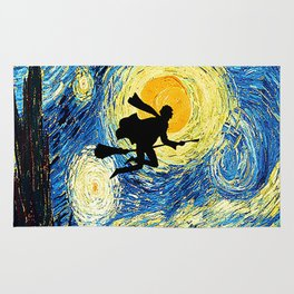 Starry Night Harry Potte with broom Hogwarts Rug
