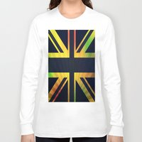 british flag Long Sleeve T-shirts featuring RASTA BRITISH FLAG by shannon's art space
