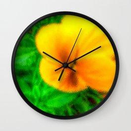 Yellow Viola Wall Clock