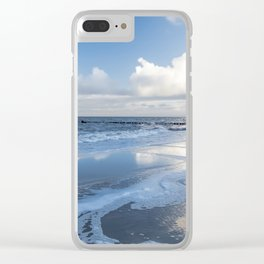 Cold day at the beach - Ocean blue Clear iPhone Case