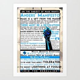 Dragon Age- Ander's Manifesto Art Print