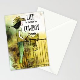 Life is better in Cowboy Boots Cowgirl Stationery Cards