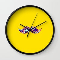 mustache Wall Clocks featuring Mustache by Ajans Magazin