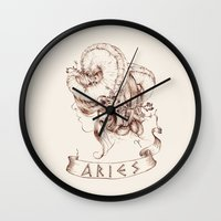 aries Wall Clocks featuring Aries by Morgan Ofsharick - meoillustration