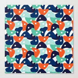 Rolly Polly Fish Heads Blue Canvas Print