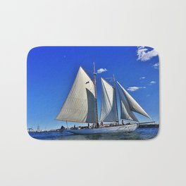 Sailboat and Bug Light in Casco Bay, Maine Bath Mat