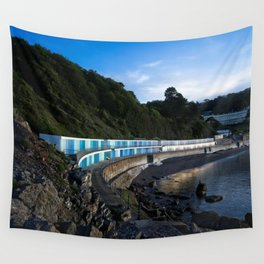 Meadfoot Imposing Cliffs And Beach Huts Wall Tapestry
