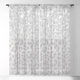Silver Ombre Leopard Print Sheer Curtain