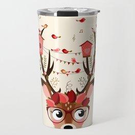 Biche et cabanes à oiseaux (rose) Travel Mug