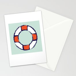 lifeguard buoy aqua #nauticaldecor Stationery Cards