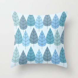 Mid century Trees in Blue Throw Pillow