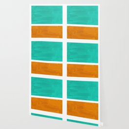 Marine Green Yellow Ochre Mid Century Modern Abstract Minimalist Rothko Color Field Squares Wallpaper
