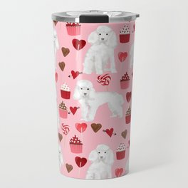 Toy poodle white poodles valentines day cupcakes love hearts dog breed pet portrait pattern gifts pe Travel Mug