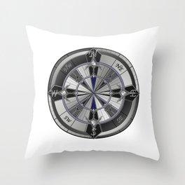 metal compass Throw Pillow