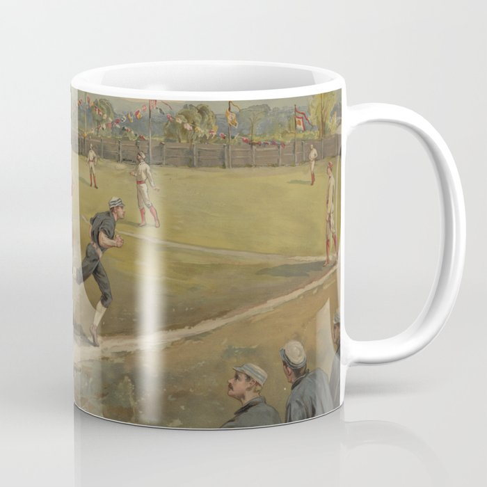 Vintage Painting of a Baseball Game (1887) Coffee Mug