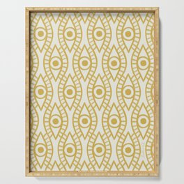 Vintage Golden Evil Eye Ogee Geometric Pattern, Hand-painted Eyes, Beautiful Oil Paint Texture on Light Beige Canvas Serving Tray