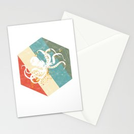 Vintage Octopus Lover Sea Creatures Retro Kraken Lover Marine Wildlife Gift Stationery Cards