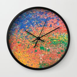 Colorful ink drops on white Wall Clock