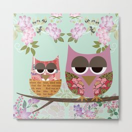Mother Owl and Baby Owl Nest with flowers  Metal Print
