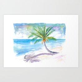 Big Palm For Dreaming Away On A White Caribbean Beach Art Print
