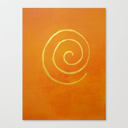 Infinity Bright Orange With Gold Abstract Modern Art Painting Canvas Print