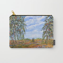 Lupines & Peaches, Modern Impressionism Painting, modern art Carry-All Pouch