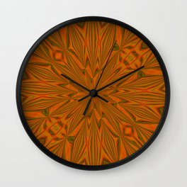 Autumnal Leaves Red Green and Amber Abstract Kaleidoscope Wall Clock