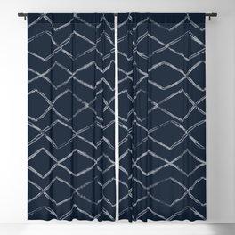 Dark Navy Blue Bohemian Tribal Mud Cloth Chevron Horizontal Stripe Diamond Pattern Blackout Curtain