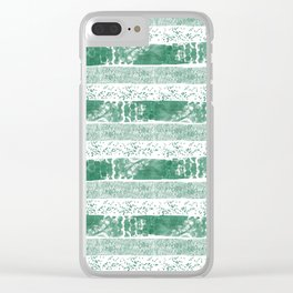 Pastel green watercolor paint brushstrokes confetti stripes Clear iPhone Case
