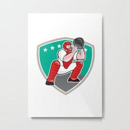 Baseball Catcher Catching Shield Cartoon Metal Print
