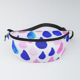 Rainy Day Raindrops Hand Painted Pattern Pink Aqua and Blue Fanny Pack
