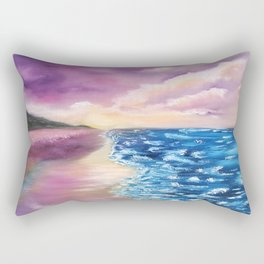 As Is, Beach Scene, Colorful Beach with beautiful blue sea and sky Rectangular Pillow