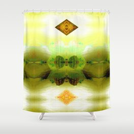 Inadvertent upward motion jig. Shower Curtain