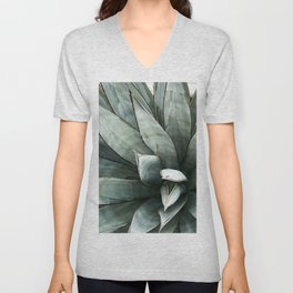Botanical Succulents // Dusty Blue Green Desert Cactus High Quality Photograph Unisex V-Neck