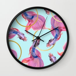 HullaHoops, Eclectic Colorful Fish Graphic Design, Animals Gold Rings Surrealism Quirky Wall Clock