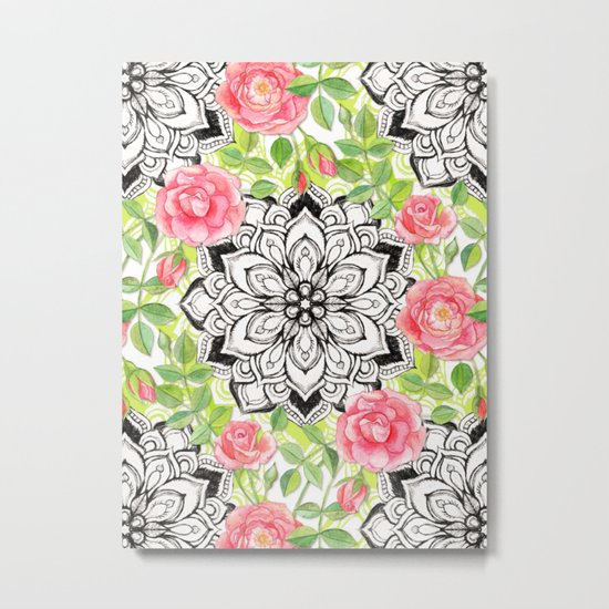 Peach Pink Roses and Mandalas on Lime Green and White Metal Print