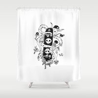 skate Shower Curtains featuring Octopus Skate by Edward Brends