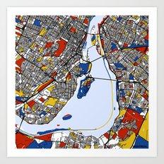 montreal map mondrian Art Print