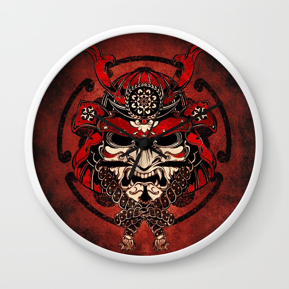 Samurai Mask Bushido Ronin Warrior Samurai Art Wall Clock By Mysunlife Society6