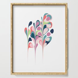 Colorful Abstract Floral Design Serving Tray