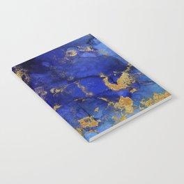 Gold And Blue Indigo Malachite Marble Notebook