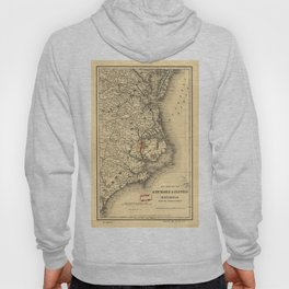 Vintage Map of The North Carolina Coast (1887) Hoody