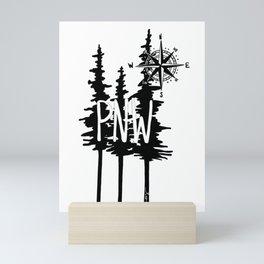 PNW Trees & Compass Mini Art Print