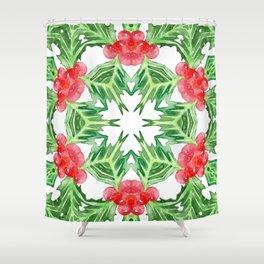 Holly Jolly Christmas Mandala (Large Pattern) Shower Curtain