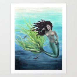 Calypso Nude Mermaid Underwater Art Print
