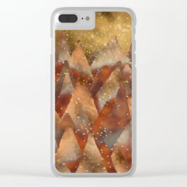 Abstract Copper  Gold Glitter Mountain Dreamscape Clear iPhone Case