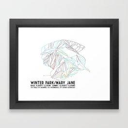 Winter Park/Mary Jane, CO - Minimalist Trail Art Framed Art Print